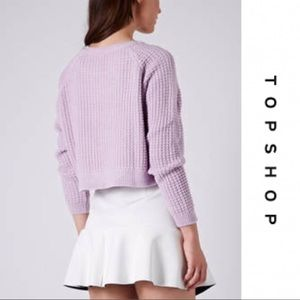 🌿 Topshop Crop Sweater In Lilac Knit Oversized